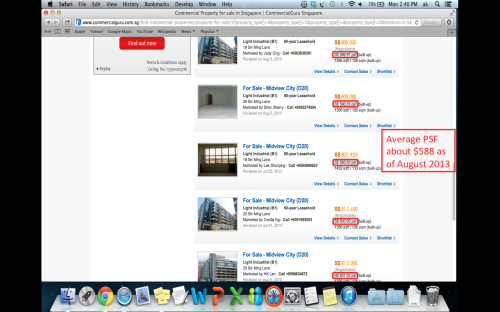 Screenshot of Midview City prices from CommercialGuru.com.sg